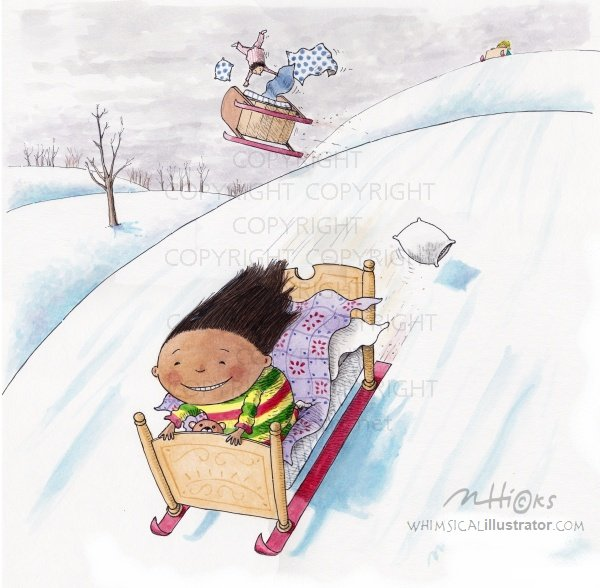 Bedsledding! whimsical artwork by whimsical illustrator, Mark A. Hicks