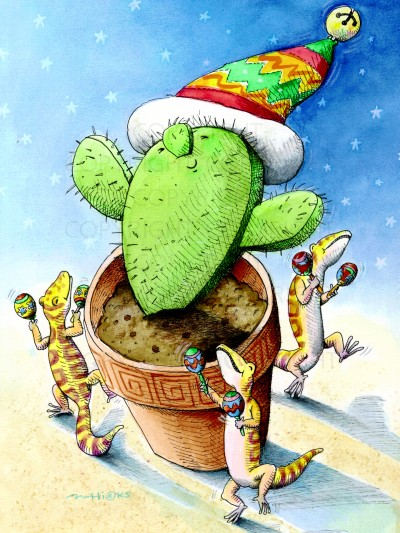 have your self a merry little cactus copyright1999 whimsical christmas card illustration