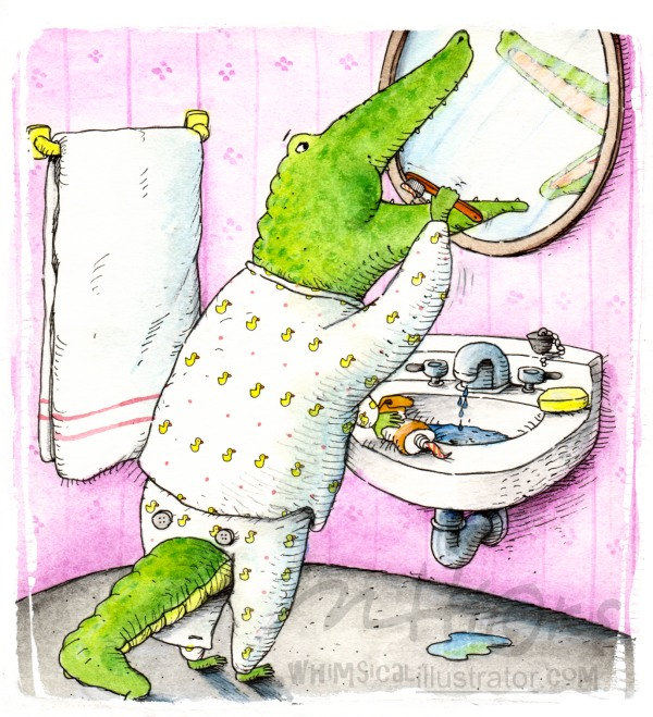 Ellwood the Alligator whimsical Illustration By Mark Hicks