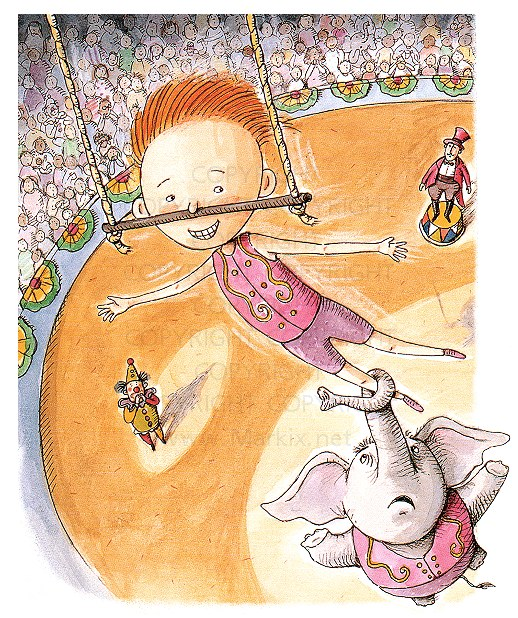 whimsical circus artwork by whimsical illustrator Mark A. Hicks
