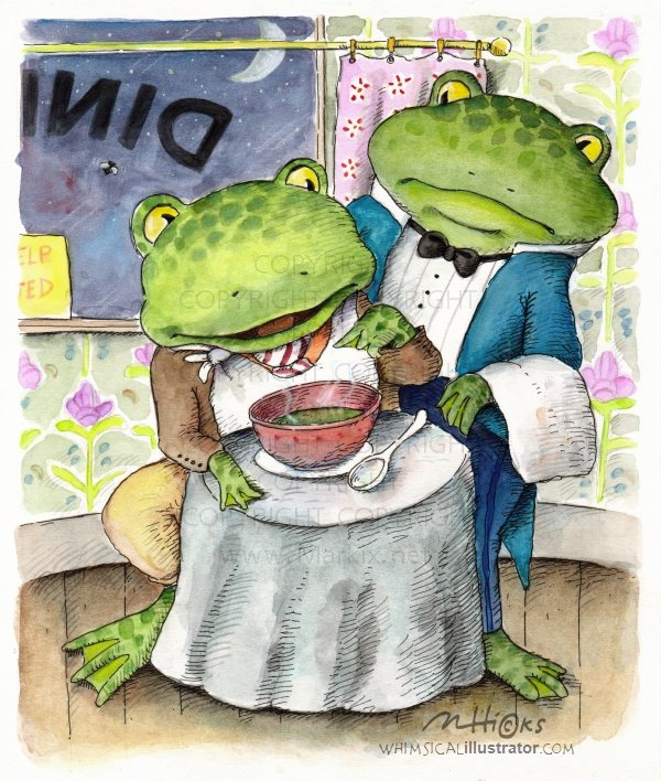 whimsical frog illustration by Mark A. Hicks
